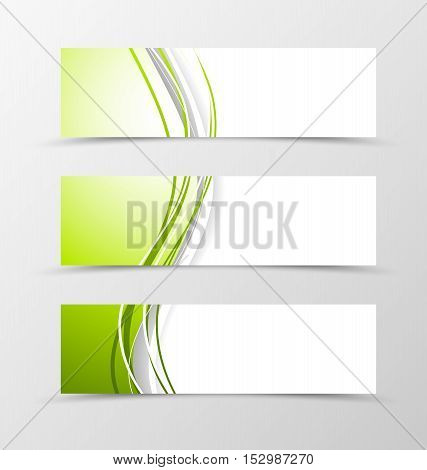 Set of header banner dynamic design with green and white lines in wave style. Vector illustration