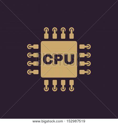 The cpu icon. Microprocessor and processor symbol. Flat Vector illustration