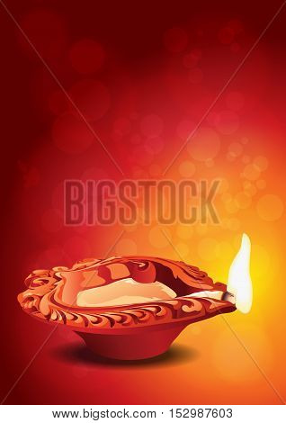Indian Festival Diwali - Diya Clay Lamp Vector Illustration