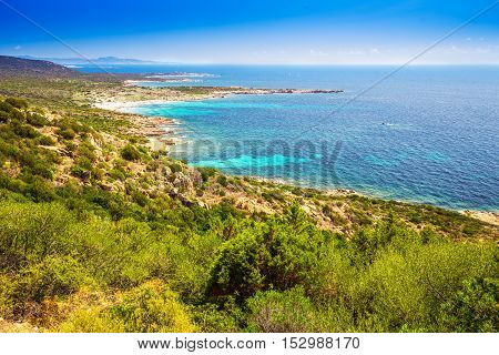 Beautiful Corsica landscape with red rocks and tourquise clean sea on south part of Corsica France Europe.