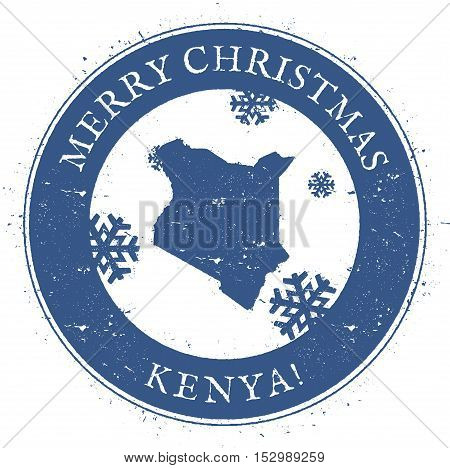 Kenya Map. Vintage Merry Christmas Kenya Stamp. Stylised Rubber Stamp With County Map And Merry Chri
