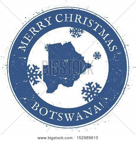 Botswana Map. Vintage Merry Christmas Botswana Stamp. Stylised Rubber Stamp With County Map And Merr