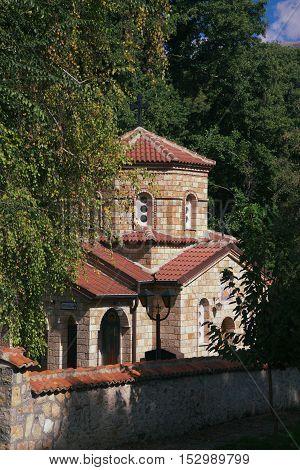 церкви монастыря святого Наума в Македонии на озере Охрид