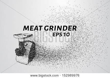 Meat grinder of the particles. The meat grinder shatters into smaller molecules. The meat grinder consists of circles and points.