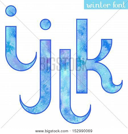 Colorful blue ice frozen watercolor paint alphabet letters I, J, K, L - vector Illustration