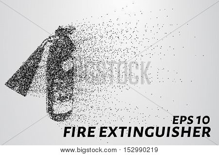 A fire extinguisher of the particles. A fire extinguisher consists of circles and points. The fire extinguisher crumble into small pieces.