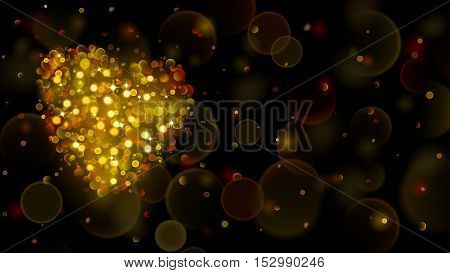 Abstract Background With Big Gold Heart With Bokeh Effect