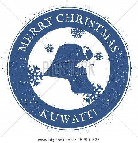 Kuwait Map. Vintage Merry Christmas Kuwait Stamp. Stylised Rubber Stamp With County Map And Merry Ch