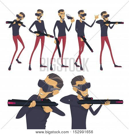 Set the virtual reality player shooter game concept, the man at the head of the vr device in the hands of weapons