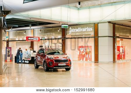 Vilnius, Lithuania - July 08, 2016: The Demonstration Of New Red Kia Sportage Car, The Compact Sport Utility Vehicle SUV In The Hall Of Acropolis Shopping Center.