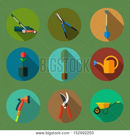 This is a set of garden tools in the form of flat icons. Lawn mower, hedge trimmers, shovel, pruning shears, seedlings, watering can, secateur, watering sprinkler ,wheelbarrow.