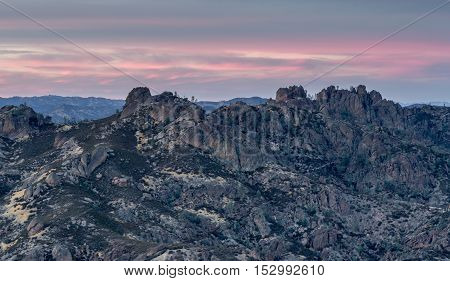 Sunset over High Peaks of Pinnacles National Park, California, USA