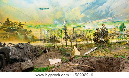 Minsk, Belarus - December 20, 2015: Diorama depicting the defeat of Nazi troops in Belarus. Belarusian Museum Of The Great Patriotic War In Minsk, Belarus