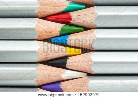 Cohesive colored pencils. Sharpened colored pencils. A stack of colored pencils. Ready to paint.