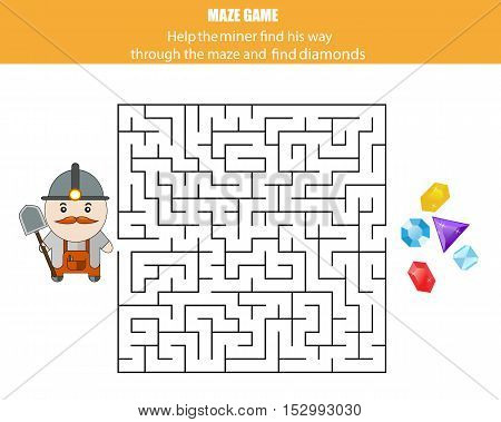 Maze game. Help the miner find the diamonds. Kids activity sheet printable educational children game
