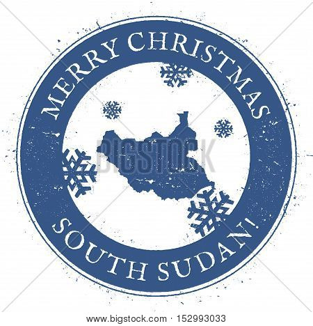 South Sudan Map. Vintage Merry Christmas South Sudan Stamp. Stylised Rubber Stamp With County Map An
