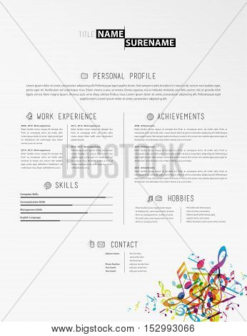 Creative simple cv template with colorful music tunes in footer.
