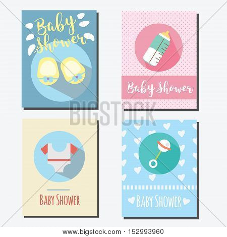 Baby shower party cards invitations design templates. Design templates of greeting card for newborn babies with toys booties and other elements