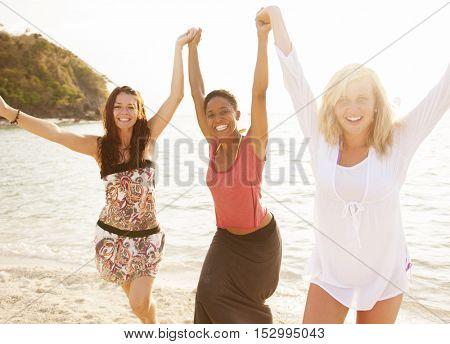 Woman Beach Summer Sunlight Travel Concept