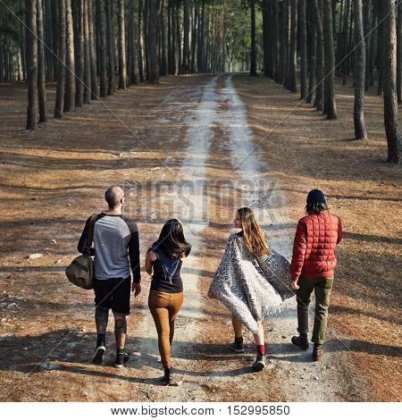Friends Walking Exploring Outdoors Concept