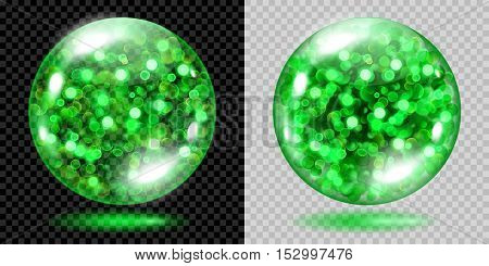 Two Transparent Spheres With Green Sparkles. For Use On Dark And Light Background