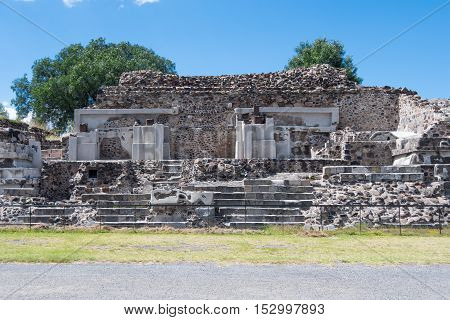 The Palace of the Jaguars is located west of the Plaza of the Moon in San Juan Teotihuacan Mexico. It's also called the Temple of the Jaguars.