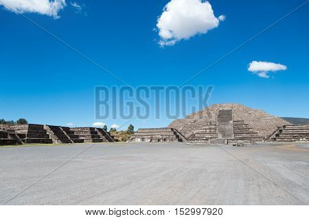 The Pyramid of the Moon is the second largest pyramid in San Juan Teotihuacan Mexico after the Pyramid of the Sun and it covers a structure older than the Pyramid of the Sun. The structure existed prior to 200 AD.