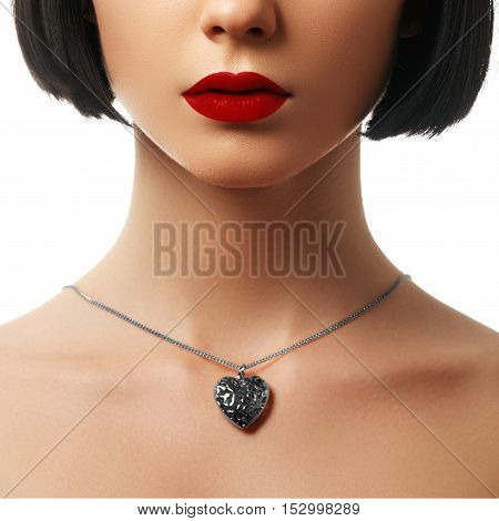 Beauty And Jewelry Concept - Woman Wearing Shiny Gold Pendant. C