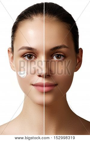 Beautiful Young Woman With Tanned Skin Before And After Tan. Fac