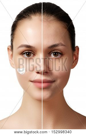 Woman Before And After Digital Makeup And Retouching Makeover On