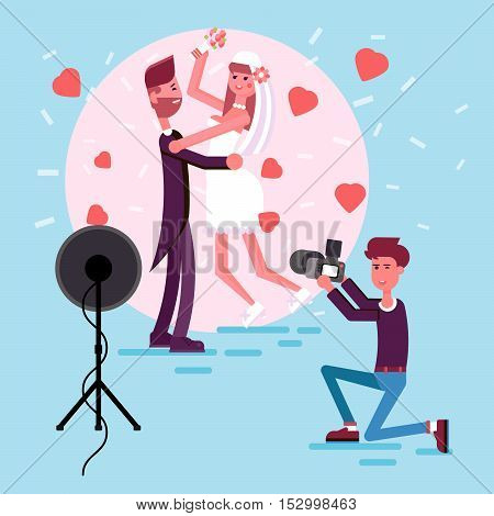 Happy couple in the middle of the circle of photo light. Illustration of just married girl and man. Bride and groom in the love hearts and confetti. Professional photographer make a picture.
