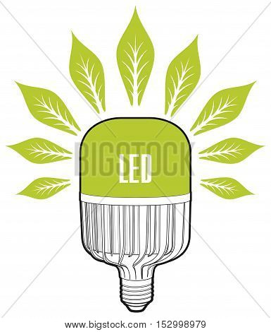 ECO energy concept. Big led lamp. Eco lamp sign