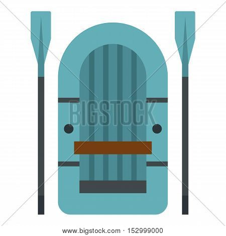 Inflatable boat icon. Flat illustration of inflatable boat vector icon for web design