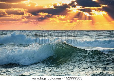 Beautiful green sunrise wave. Colorful ocean beach sunrise with deep blue sky and sun rays.