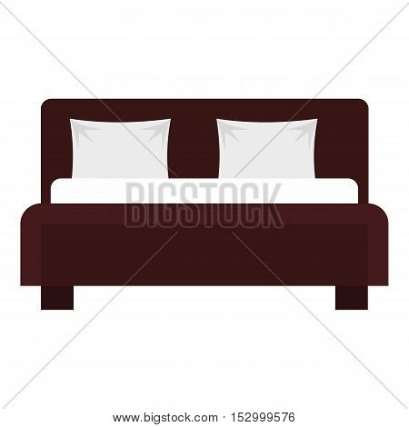Double bed icon. Flat illustration of bed vector icon for web design