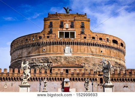 Rome Italy. Castle Sant Angelo twilight built by Hadrian emperor as mausoleum in 123AD ancient Roman Empire landmark.