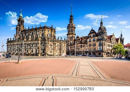 Dresden Germany. Dresda Castle (Green Vault) in the historic center of the Saxony city. Contains the largest collection of treasures in Europe.