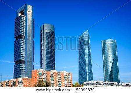 Madrid, Spain. Cuatro Torres business area in Spanish capital city.