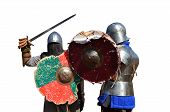 medieval metal armor and helmet mercenary warriors fighting isolated over white poster