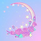 Kawaii Night sky composition with Roses bouquet, stars and moon crescent. Festive background or greeting card. Pastel goth palette. Cute girly gothic style art. EPS10 vector illustration poster