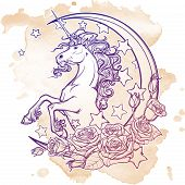 Kawaii Night sky composition with Unicorn, roses, stars and moon crescent. Festive background or greeting card. Hand intricate sketch on grunge background. Girly vintage art. EPS10 vector illustration poster