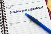 Reminder to schedule your appointment A day planner with blue pen with text Schedule your appointment poster