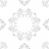 Abstract vector seamless background with a symbolical flower pattern, monochrome graphic contours poster