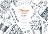 Fast food top view frame. Fast food banner snack collection. Vintage vector illustration. Drawn in ink. Set of fast food junk food. poster
