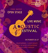 Template Design Poster with acoustic guitar silhouette. Live Music Festival concept. Idea for musical concert promotion banner in retro vintage style. Bright scratched background. Vector illustration. poster