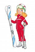 Beautiful girl in helmet with mountain ski. Extreme Sport. Winter hobbie. Sporting woman. Vector illustration. Isolated white background poster