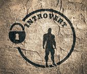 introvert simple icon metaphor. image relative to human psychology. muscular man in the locked circle. Concrete wall textured poster