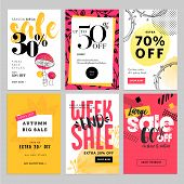 Social media sale banners and ads web template set. Vector illustrations for website and mobile website banners, posters, email and newsletter designs, ads, coupons, promotional material. poster
