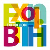 Vector exhibition. Isolated confused broken colorful text poster