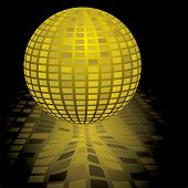 Illustration of a gold disco ball with a reflection in black poster